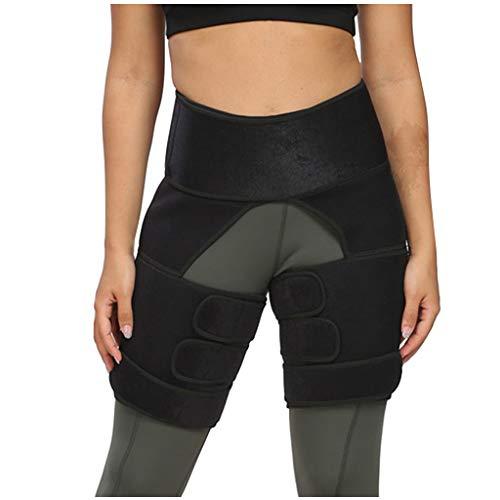 fine_fine Women Waist Support Thigh Leggings, Slim Thigh Leg Shapers Slender Slimming Belt Thigh Slimmer Wrap (Black L)