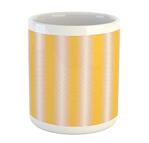 NA Taza geométrica, Imagen de Rayas horizontales y Formas repetidas de Origami, diseño artístico, Taza de café de cerámica para Bebidas de té de Agua, 11 oz, Blanco Mostaza y melocotón