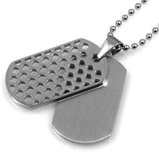 amorili Collar con Doble Chapa para ser Grabados en Acero Colgante Colgante de Oro de la Cadena de hasta 50 cm, H 35 mm L 20 mm - cll1257