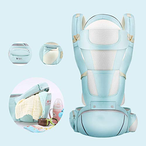 JKJ Baby Carrier, Detachable Seat Baby Carrier, Ergonomic Hip Seat, Baby Sling Wrap Newborn, with Etachable Sun Visor and Wind Cap Provide, Night-Time Reflective Strip