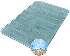 Freshmint Memory Foam Bath Mat (32 by 20 Inches), Flannel Fleece Thick Padded, Maximum Absorbent Bathroom Rugs, Soft, Comf...