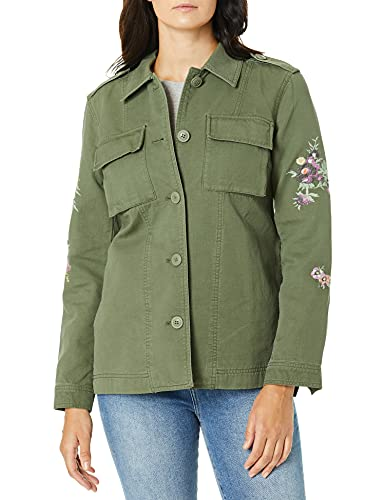 Levi's Women's Floral Embroidered Cotton Shirt Jacket, Army Green, Large