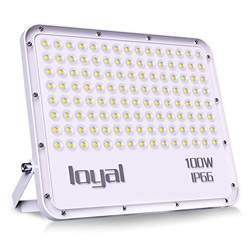 loyal 100W LED Strahler, 9000LM Superhell LED Scheinwerfer, Kaltweiss 6000K, LED Fluter Außen Strahler, IP66 Wasserdicht Flutlicht Außenstrahler für Garten, Garage, Sportplatz