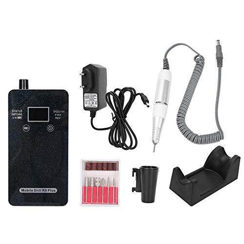Máquina de mano de taladro de uñas eléctrico de 30000 rpm, taladro de uñas eléctrico lR9 plus, máquina de pulido de uñas eléctrica portátil recargable para uso (Enchufe de la UE)