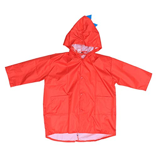 Garneck Kinder Regenjacke Tragbare Regenponcho Regenmantel in Dinosaurierform mit Kapuze zum Wasserreiten Angeln Wandern Camping Camping Größe XL (Rot)