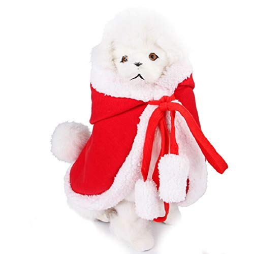 Bluelucon kattenkostuum, Kerstmis huisdier kostuums leuke cosplay voor kleine katten puppy's rode poncho met muts Kerstman-omhang poncho met kerstmuts