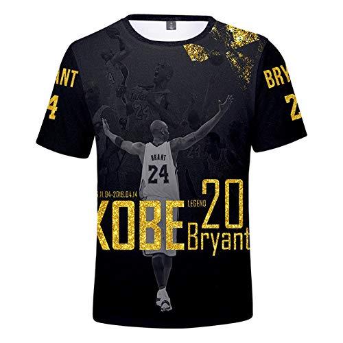 JHJU Camiseta Lakers Nº 24 para hombre y mujer de manga corta, sudadera casual de moda, camisetas de cuerpo swinging XXS A