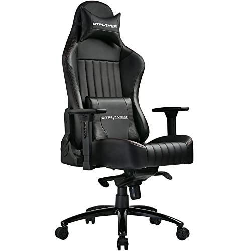 GTPLAYER Gaming Stuhl Bürostuhl Gamer Ergonomischer Stuhl mit Lendenkissen, Hohe Rückenlehne, Drehstuhl mit einstellte Kopfstütze, 150 kg Belastbarkeit, PU-Leder, schwarz