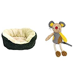 Padded grey cord oval sleeper with a soft, luxury plush inner. Stylish and modern for today's home Mini size plush and rope dog toy Includes a squeaker inside