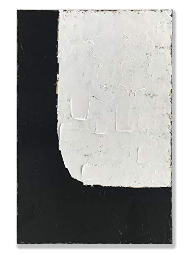 Price comparison product image Handmade Oil Painting 24x36 inch Minimalism Abstract Vertical Canvas Paintings Wall Art Black and White Artwork for Home Walls Living Room Bedroom Contemporary Canvas Art Ready to Hang