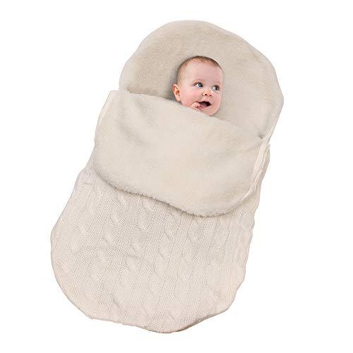 Saco De Dormir De Manta Envolvente para Bebés Y Niñas Manta De Invierno Tejida A Ganchillo Abrigo Cálido para Recibir Mantas,White