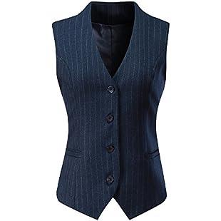 "Vocni Women's Fully Lined 4 Button V-Neck Economy Dressy Suit Vest Waistcoat,Blue Pinstripe,UK S (Fit Bust 33.5""-35.4"")-Tag XL:Autobit"