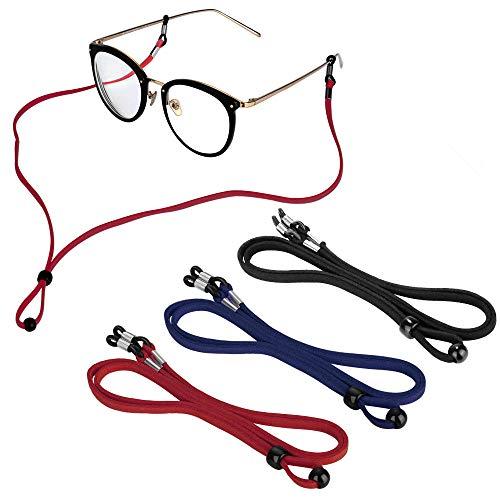 3 Stück Brillenband Sport schwimmfähig, PU Leder Brillenkordel Brillenbänder Brillenkette Anti-Rutsch Eyewear Strap für Lesebrille, Sonnenbrille und Sport (Schwarz+Rot+Dunkelblau)