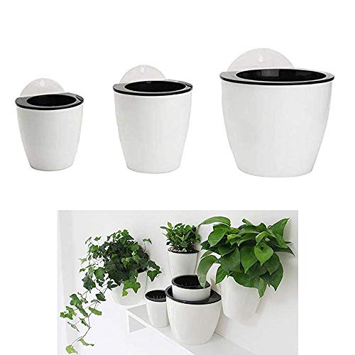 HPiano Vasi da Fiori appesi in plastica Set da 3 appesi Assorbimento Automatico dell Acqua Secchio di Fiori Balcone Recinzione Ornamenti da Giardino di casa, Fioriere da Appendere a Parete