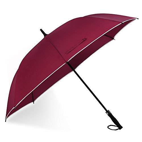 Paraguas automático de manga larga con mango ergonómico de EVA, marco cortavientos de fibra de vidrio, borde reflectante.