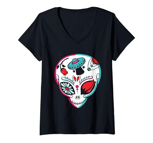 Mujer Alien Sugar Skull Dia De Los Muertos Mexicano Da De Muertos Camiseta Cuello V