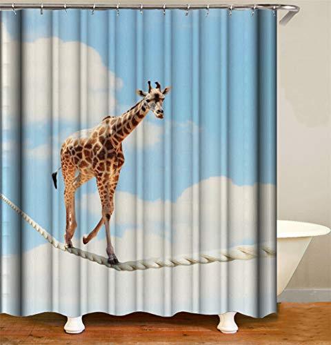 ZZZdz blauwe hemel en witte wolken. Leuke Giraffe. Lopen op een wit touw. Douchegordijn. Waterdicht. Eenvoudig te reinigen. 180 x 180 cm.