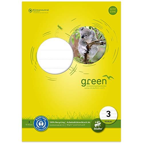 Staufen 40745003 – Bloc de hojas de trabajo verde, DIN A4, línea...