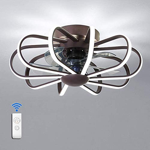 Ventilador De Techo LED Para Habitaciones Infantiles Con Iluminación Y Control Remoto, Plafón Regulable Moderno 3 Velocidades Regulable Para Dormitorio, Lámpara De Techo Ventilador,Marrón