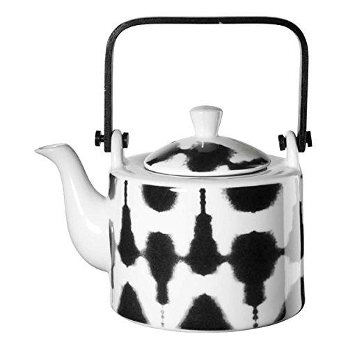 ASA Selection Maori Teekanne mit Teesieb, Tee Kanne, Keramikkanne, Keramik, Schwarz / Weiß, 750 ml, 90900071