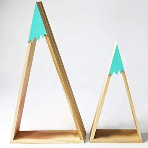 2 unids/set decoración nórdica estilo nórdico para habitación de bebé estante de pared madera nieve montaña estante flotante estante para habitación de niños-Verde