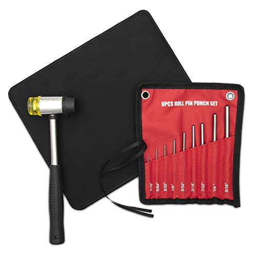 JAWAL Roll Pin Punch Set with Storage Pouch – 9 Pieces – Perfect Tool...