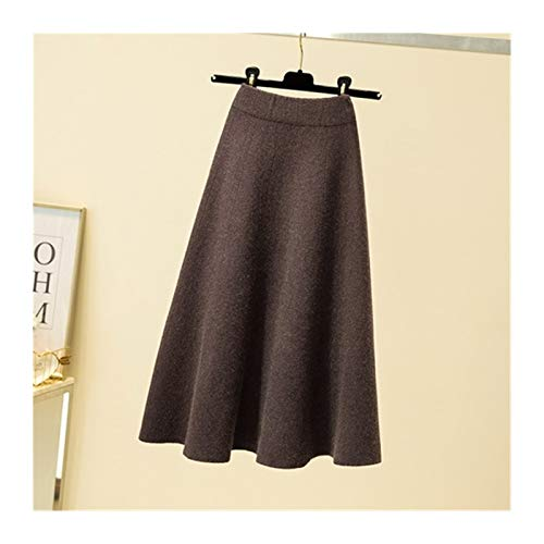 Falda de Punto de Lana de Invierno Otoño de Las Mujeres Año Mediano Cintura Alta A- Línea de algodón de Punto Retro Slim Falda Plisada para Mujeres (Color : Coffee, Talla : Oversize)