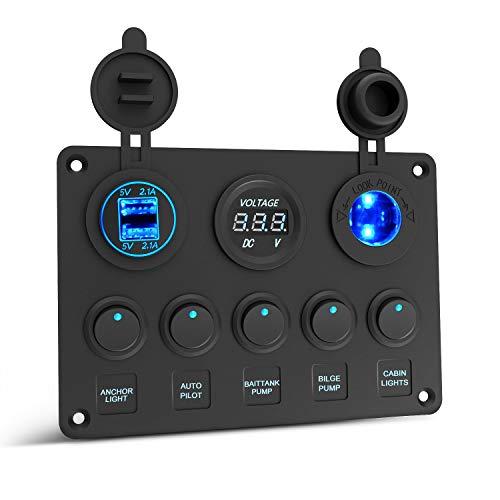 Kriogor Dual-USB-Ladegerät 4.2A + LED-Voltmeter + 12V Steckdose + 5 Kippschalter mit On/Off Schalter für Auto Boot Marine LKW