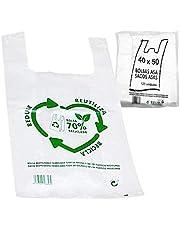 Various Bolsas de Plástico Tipo Camiseta Resistentes, Reutilizables y Recicladas Tamaño 35x50 cm 2 Kg - 120 uds Aprox. 70% Recicladas Cumple Normativa Aptas Uso Alimentario