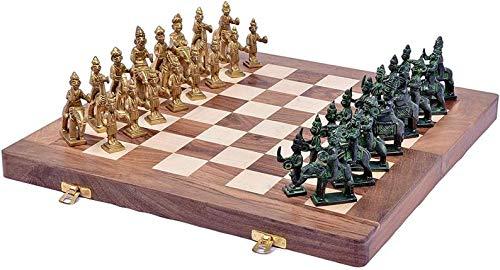 Metallic India Rajesthani - Tabla de ajedrez de madera envejecida y de latón, plegable, 35,5 x 35,5 cm, con juego de ajedrez de latón Rajesthani de 10,16 cm
