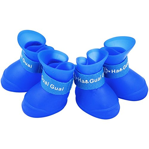 Paor Portable Dog Rain Boots Little Pet Cat Snow Shoes for Small Dog (Blue)