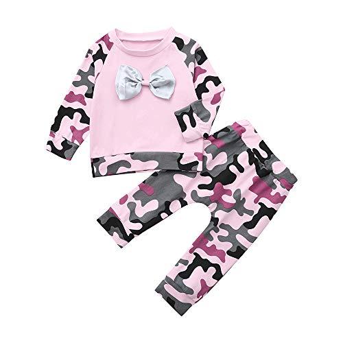 Arestory Peuter Baby Meisje Set Pasgeboren Baby Kids Lange Mouw Camouflage Strik T Shirt Tops Broek Leggings Tracksuit Outfits Kleding Set Katoen 2 Stks Geschenken 0-24 Maanden