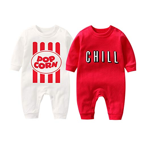 culbutomind Baby Body Yummz Tomato Ketchup Senf Rot Gelb Zwillingsset Jungen Mädchen Kleidung Zwillinge Baby Outfits Gr. 6-9 Monate, Pop L