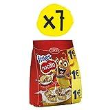 CUÉTARA Flakes Duo - Galletas Rellenas de Cereales de Arroz Inflado Chocolateado y Nocilla | Merienda y Desayuno | Pack de 7 de 130 gr.