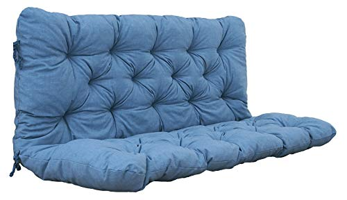 Chicreat Cojín para banco con respaldo, 120 × 98 × 8 cm, azul/gris