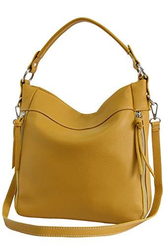 AmbraModa GL030 - Borsa italiana a spalla da donna in vera pelle, borsa a tracolla, borsa a mano da donna (giallo senape)