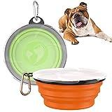 VavoPaw Ciotola da Viaggiare per Cani in Silicone [2 Pezzi], Ciotola Pieghevole per Animali Domestici da 1000 ml, Portabile per Alimentazione con Gancio per Campeggio in Viaggio, Verde & Arancio