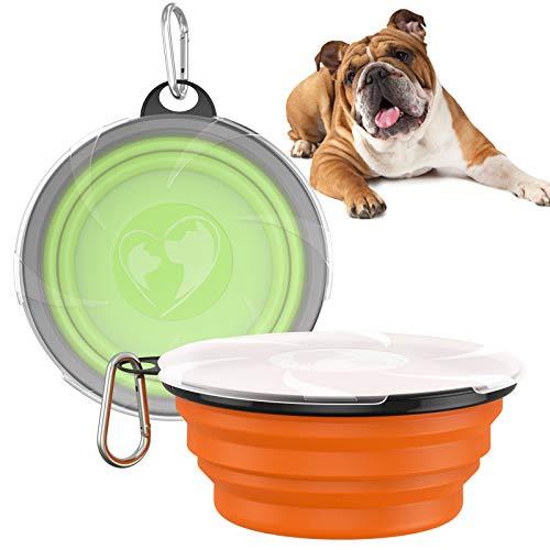 VavoPaw Tazón Plegable para Mascotas, [2 Piezas] Plato de Comida de Silicona con Gancho, Ideal Accesorio para Uso en Interiores, Campamentos, Viajes al Aire Libre para Gatos y Perros, Naranja+Verde