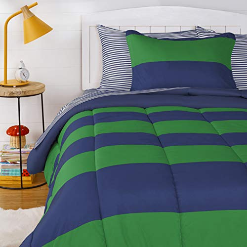 Amazon Basics Kids Easy-Wash Microfiber Bed-in-a-Bag Rugby Stripe Bedding Set - Twin, Navy/Green