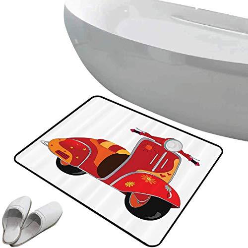 Alfombra de baño antideslizante de felpudo Conjunto Vintage Alfombrilla goma antideslizante Motor Scooter Caricatura Clásica para Hippies Memorias Urbanas Jóvenes Arte Contemporáneo,Gris,,Interior/Ext