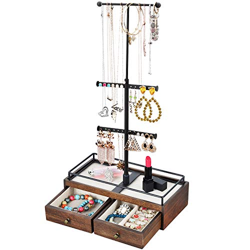 Keebofly Jewelry Organizer Metal & Wood Basic Storage Box - 3 Tier Jewelry Stand for Necklaces Bracelet Earrings Ring Walnut