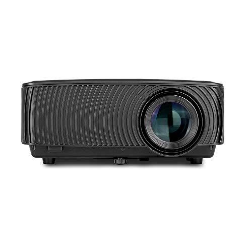 BESTSUGER HD-Videoprojektor, Mini-Diaprojektoren, tragbarer Mini-Projektor mit 1200 Lumen 1080P, kompatibel mit TV-HDMI-VGA-USB-Laptop-Smartphone,Black