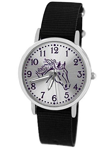 Pacific Time Mädchen Uhr Pferde analog Quarz mit Textil Wechselarmband schwarz 10307