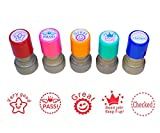 WAF Pack of 5 Sorted Teacher Stamp Teachers Self-Inking Rubber Stamps Teacher Review Photosensitive Stamps for Education