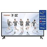 coocaa 42S3M 42 Zoll Smart Full HD LED Fernseher (106 cm) mit Android TV (schmaler Rahmen, Triple Tuner, Android 9.0, Netflix, YouTube, Prime Video, HDMI, CI-Slot, USB, Digital Audio), schwarz