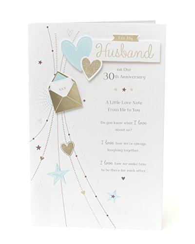 30e huwelijkskaart echtgenoot - parel huwelijksverjaardag kaart echtgenoot - ideale cadeaubon voor bruiloft - 30e verjaardag - parel verjaardag geschenken - man verjaardag kaart 30-30 jaar