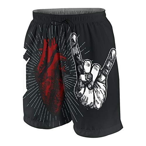 Costumi da Bagno da Uomo Personalizzati,Rock Hand Sign of Horns Stampa Gotica - I Love Rock,Beachwear Quick Dry Swim Trunks Costume da Bagno Shorts S