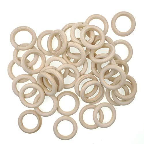 JZK 40 PCS 4.5cm Pequeños anillos de madera natural para manualidades, anillo madera sin terminar para macramé dentición bebe colgador de macetas plantas, redondos aros madera mordedor