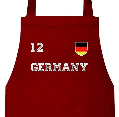 ShirtStreet Germany Fußball WM Fanfest Gruppen Barbecue Baumwoll Grillschürze Kochschürze Trikot Deutschland, Größe: onesize,Rot