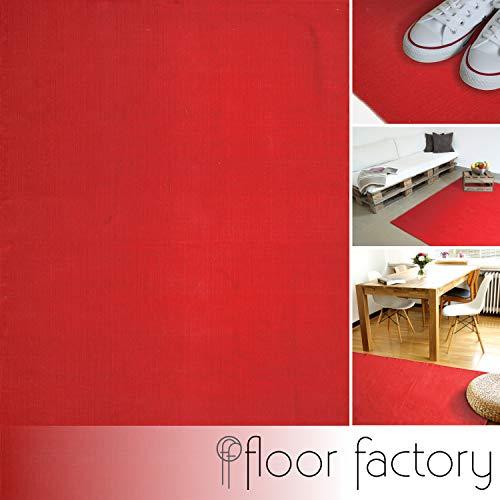 floor factory Moderner Baumwoll Teppich Living rot 140x200cm - waschbarer Webteppich aus 100% Baumwolle